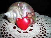 Collana ciondolo cuore con orsetto