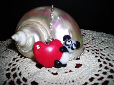 Collana ciondolo cuore con panda