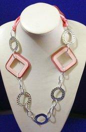 Collana moda rosa e acciaio