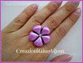 Brillante anello fiore rosa lillà con strass trasparente in fimo (polymer clay) fatto a mano