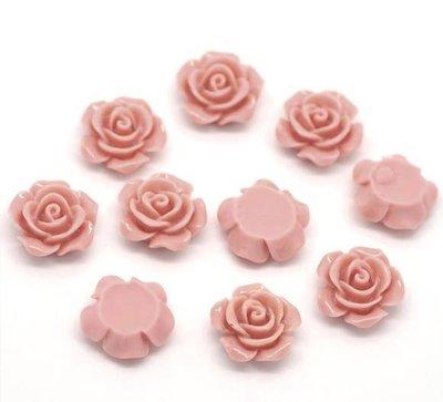 cabochon Decorazione Fiori in Resina Rosa chiaro per Bigiotteria base piatta14mm