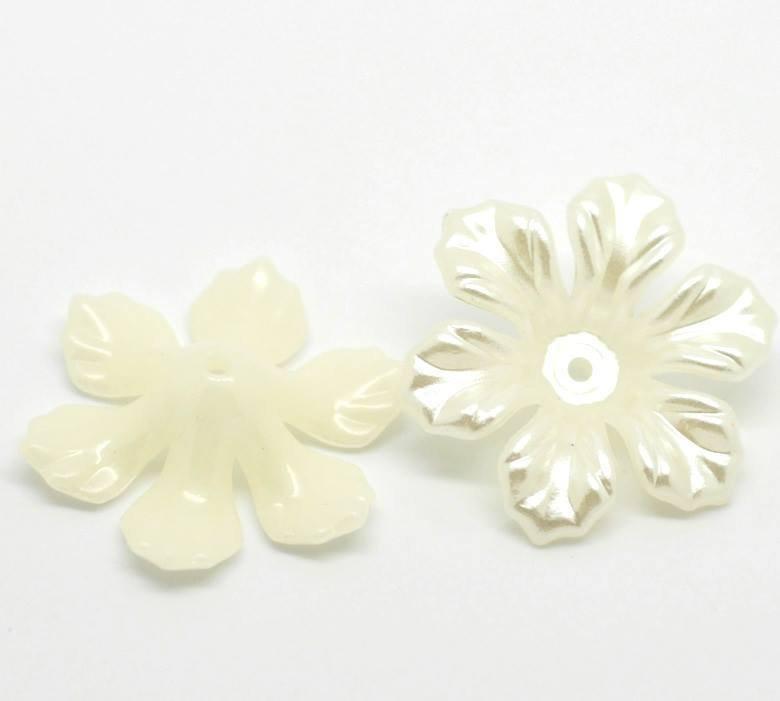 Distanziatori Perle Perline Fiore in Acrilico Bianco beige 2,6x2,6 cm