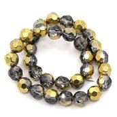 10 Perle Perline in Vetro Cristallo Oro 10mm Dia.
