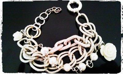 Bracciale catene e perle di fiume