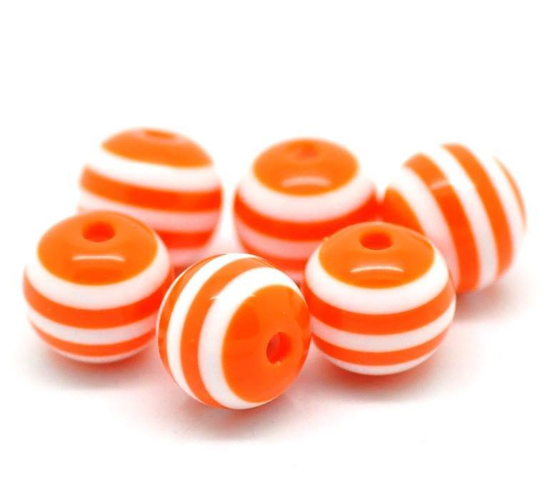 10 Perle  a Sfera in Resina a Righe arancio 10mm