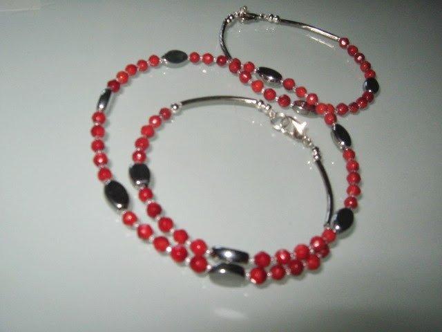 art 276 collana e bracciale  uomo-unisex in corallo rosso e argento tibetano anallergico