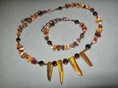 art 244 collana e bracciale uomo-unisex in agata indiana e argento tibetano anallergico