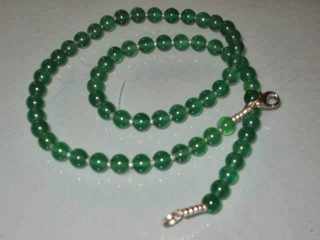 art 238 collana  uomo-unisex in giada verde naturale e argento tibetano anallergico