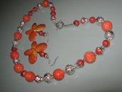 art 174 collana in corallo spugna rosso e corallo madrepora naturale di mare con orecchini argento tibetano anallergico