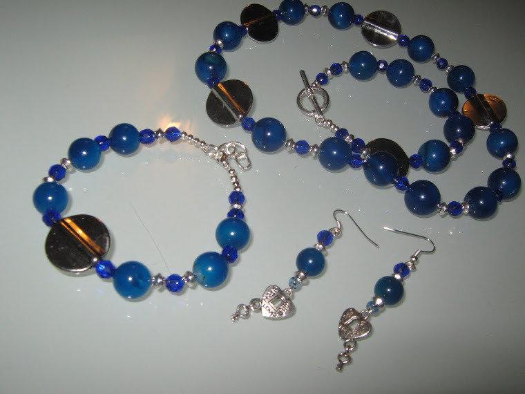 art 122 collana in agata blù trasparente,grandi perle round, con orecchini e bracciale,argento tibetano anallergico