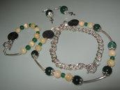 art 120 collana in agata verde trasparente e giada color crema, perle round varie misure, con orecchini e bracciale,argento tibetano anallergico