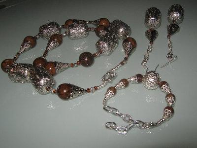 art 121 collana in giada naturale marrone, con orecchini e bracciale  in argento tibetano anallergico