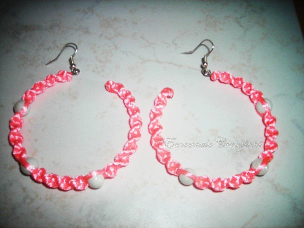 orecchini intreccio rosa