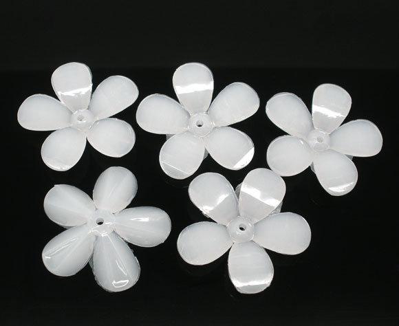 Distanziatori Perline Perle Fiore in Acrilico Bianco 30mm dia