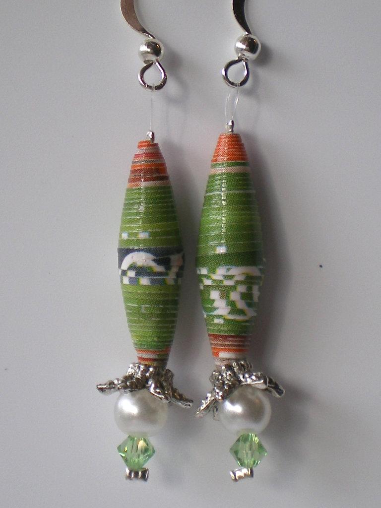 orecchini oblunghi verdi etnici