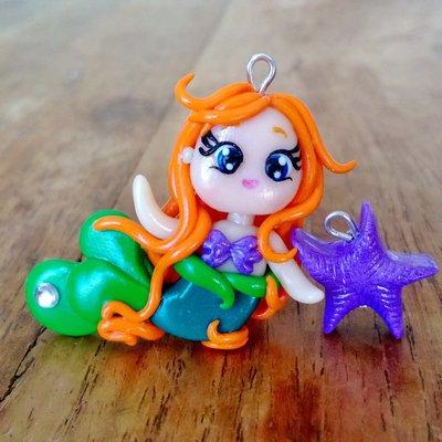 Ciondoli Ariel (La Sirenetta) e stella marina fatti a mano in fimo (orecchini, braccialetto, portachiavi, collana)