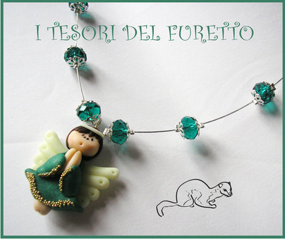 "Collana ""Fufufangel Verde"" Natale 2013 Fimo cernit angioletto kawaii"