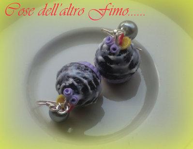 Orecchini Cupcake Cioccolato Gnam Gnam Fragola e Limone