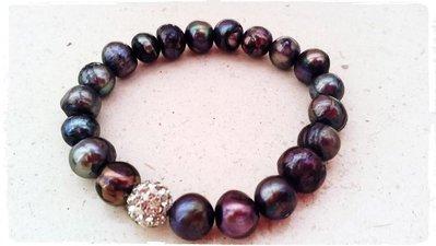 Bracciale perle di fiume black