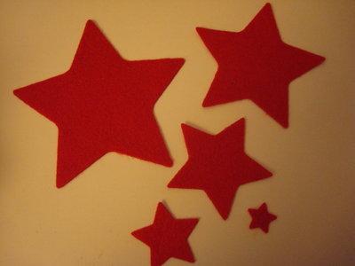 Set fustellati in feltro forma: stella 5 pezzi