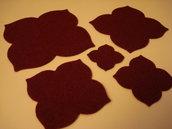 Set fustellati in feltro forma: fiore 4 petali 5 pezzi