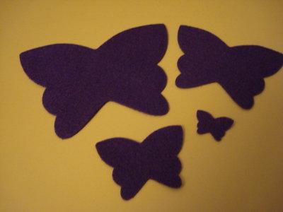 Set fustellati in feltro forma: farfalla 4 pezzi