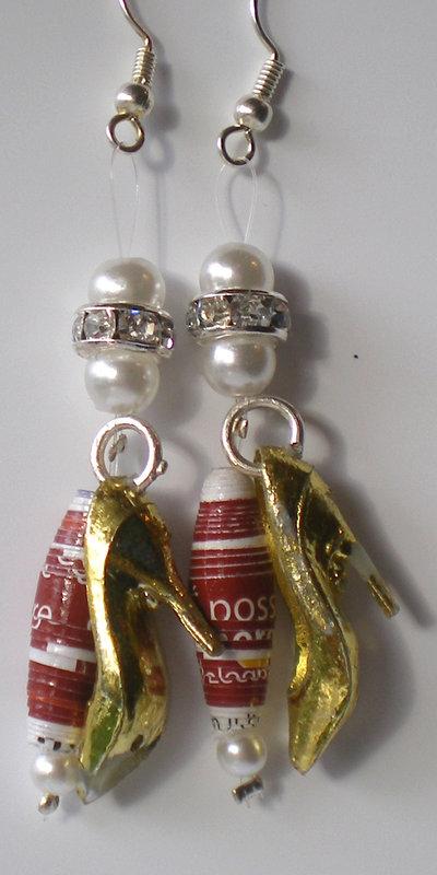 orecchini di carta rossi oro