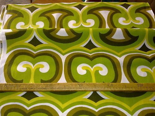 Taglio scampolo stoffa cotone optical verde giallo bianco vintage anni 70