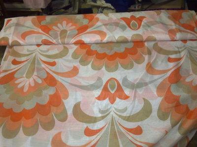 Taglio scampolo tenda tendaggio salmone arancio beige marrone vintage anni 70