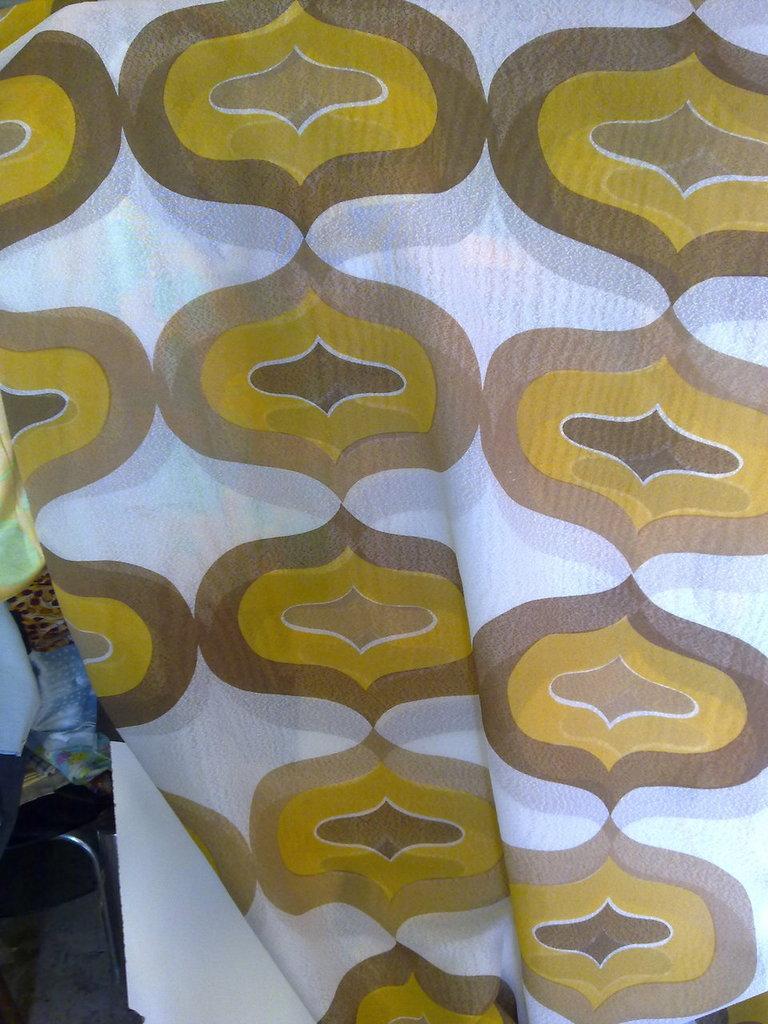 Taglio scampolo tenda tendaggio giallo senape marrone vintage anni 70