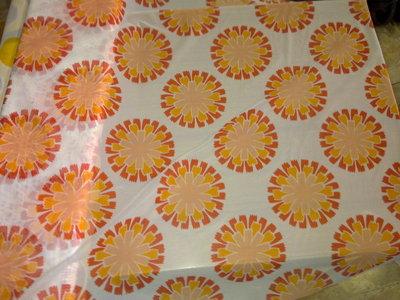 Taglio scampolo tenda tendaggio FINESTRA giallo arancio sole vintage anni 70