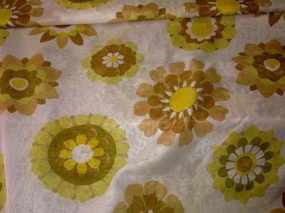 Taglio scampolo tenda tendaggio FINESTRA fiori giallo verde marrone vintage anni 70