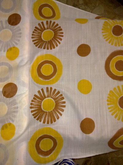 Taglio scampolo tenda tendaggio FINESTRA giallo marrone sole fiori vintage anni 70