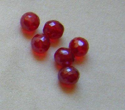 lotto  10  perline in mezzo cristallo  rosso  da 12 mm.