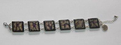 """Bracciale quadrato collezione """"Handmade"""" nero / viola / oro"""