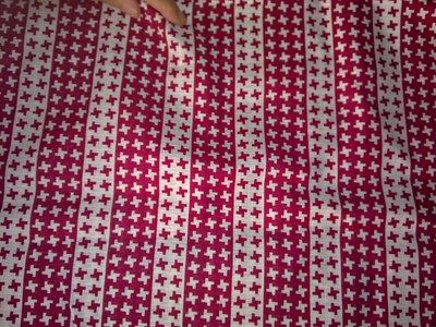 Taglio scampolo cotone croce incrocio più rosso bianco vintage anni 70
