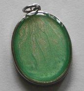 """Pendente ovale collezione """"Handmade"""" verde/bianco"""