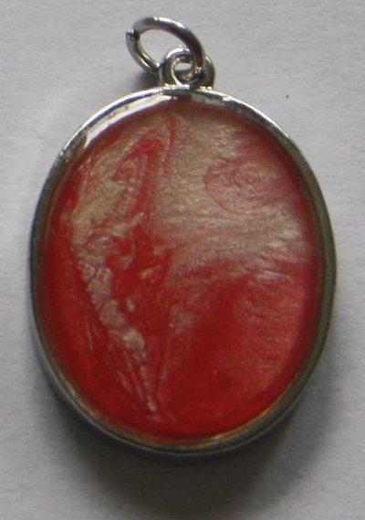 """Pendente ovale collezione """"Handmade"""" rosso/bianco"""