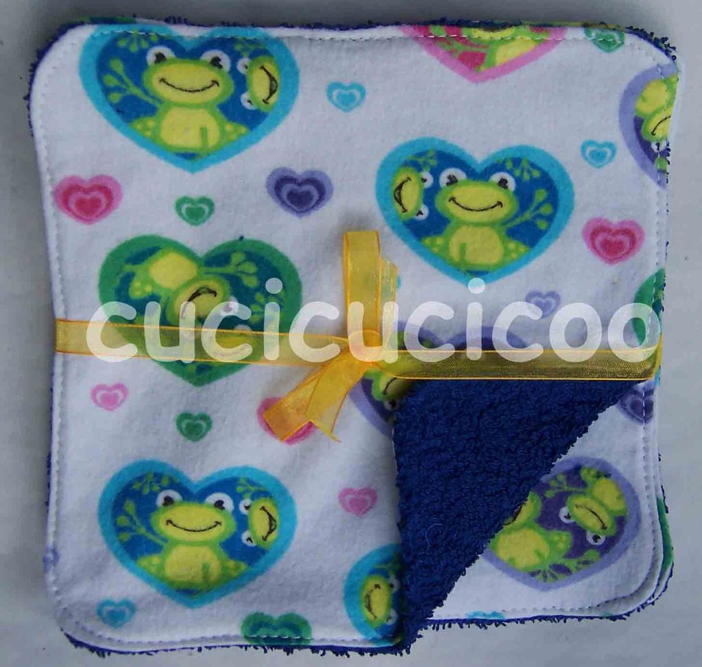 salviette cambio bebe lavabili  (rane & blu)/ set of 5 cloth wipes
