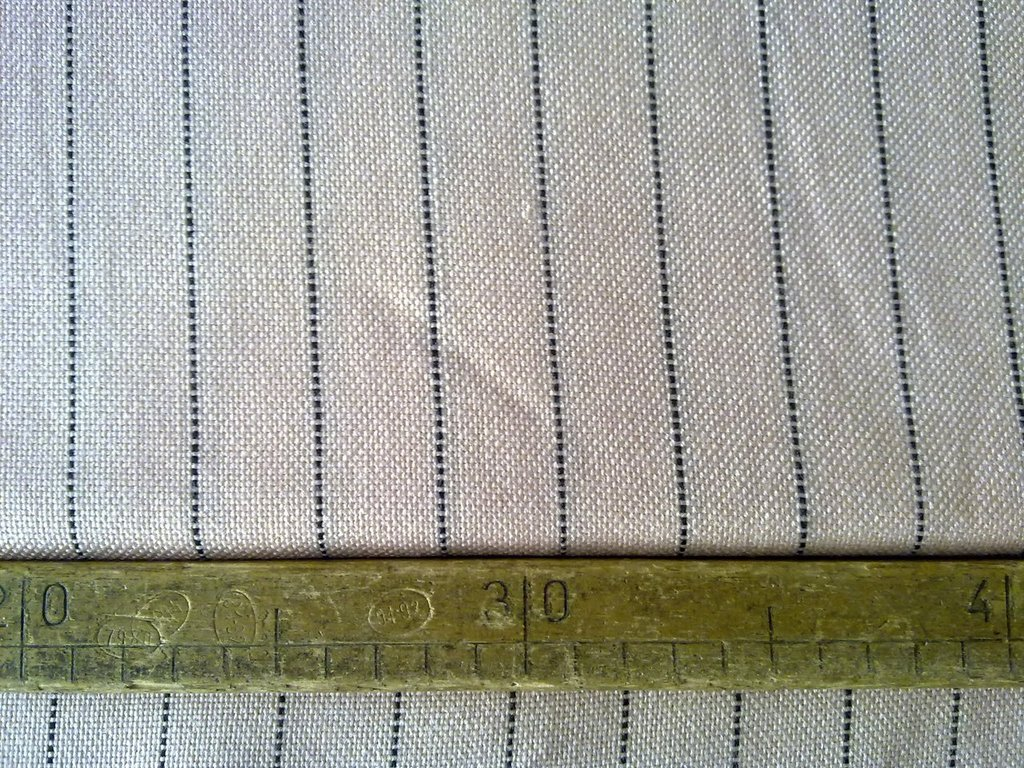 Taglio scampolo vintage di lana nattè / panama rosa con riga nera