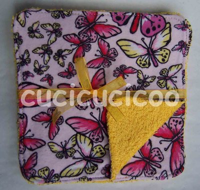 salviette cambio bebe lavabili  (farfalle & giallo)/ set of 5 cloth wipes