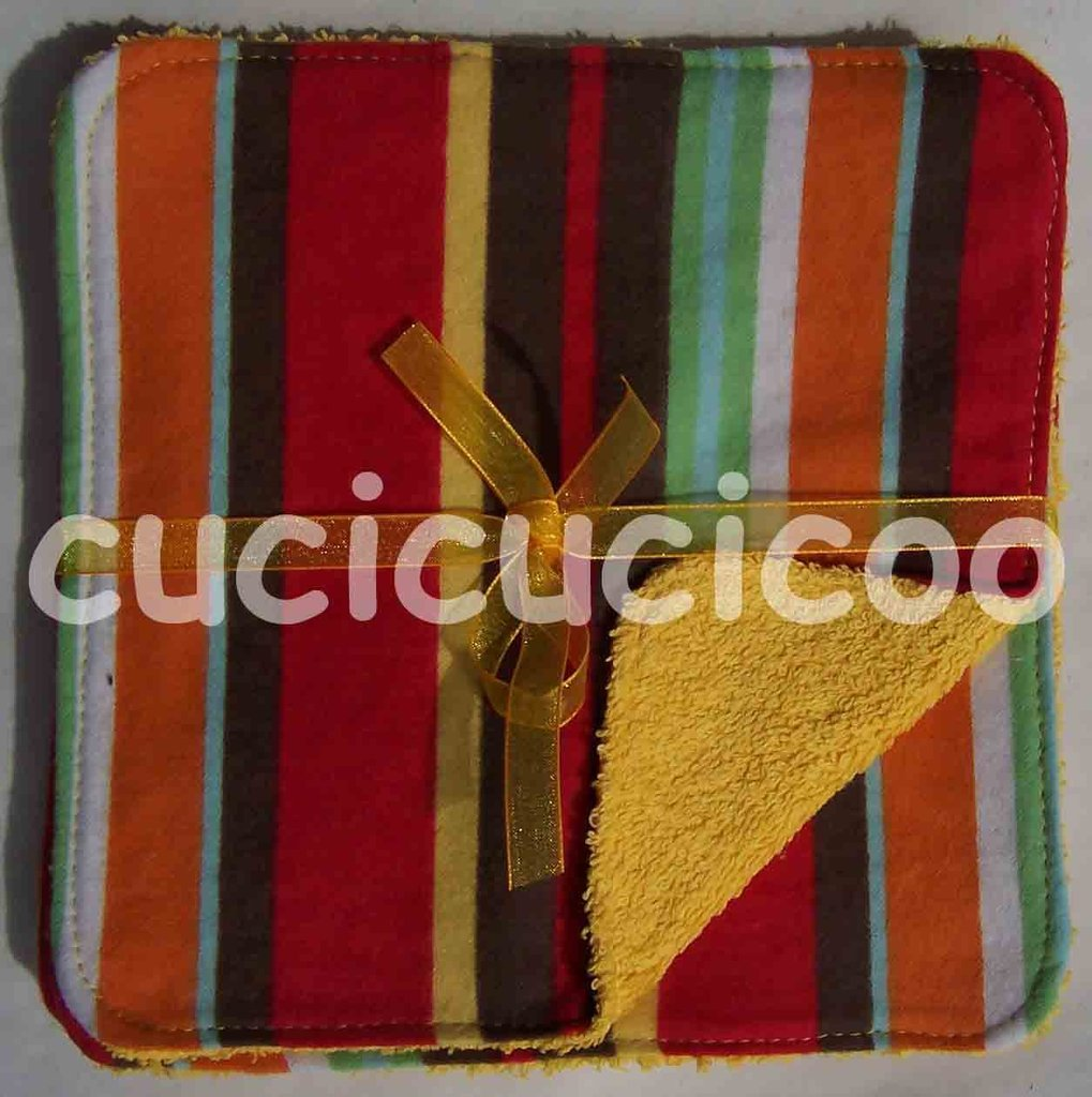 salviette cambio bebe lavabili  (strisce marroni & giallo)/ set of 5 cloth wipes