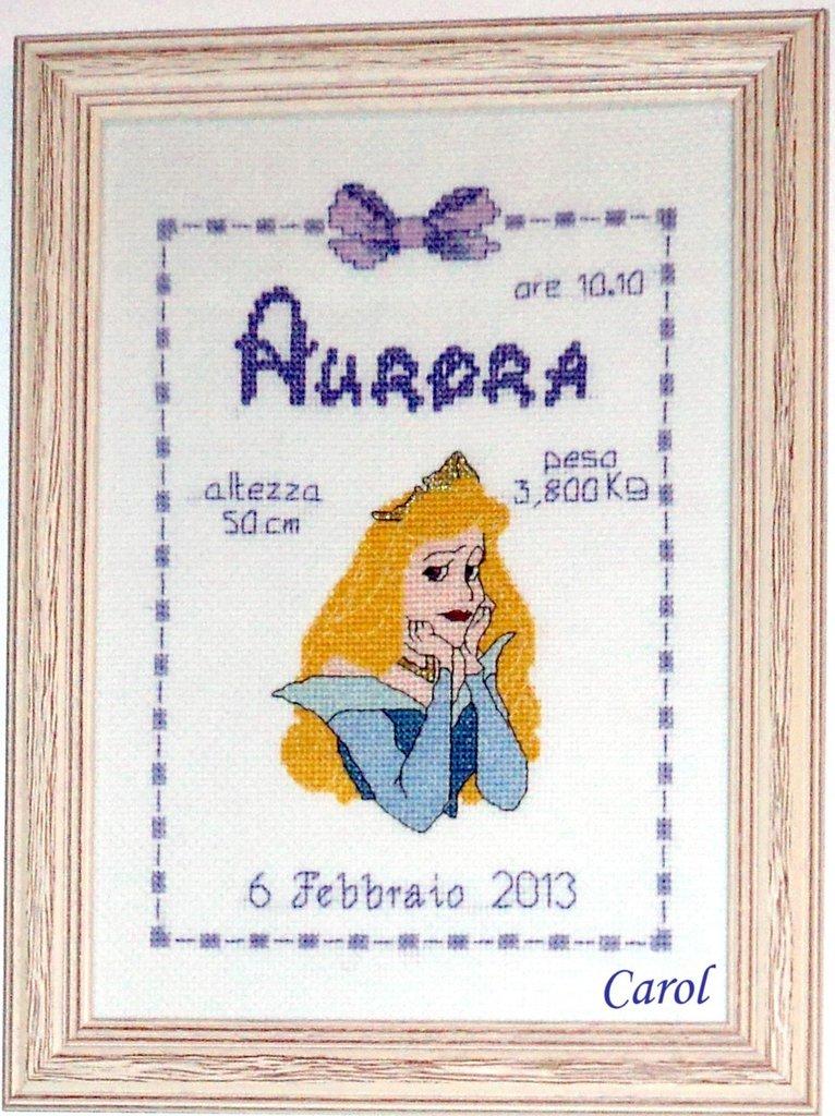 "Quadretto nascita - fiocco nascita - ""Aurora"" -punto croce- B28"