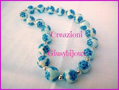 """Collana girocollo con perle in fimo """"murrina fiore petali blu azzurro"""" made in italy"""