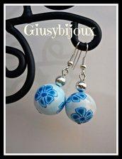 """Orecchini murrina """"millefiori petali blu azzurro"""" in fimo polymer clay fatto a mano handmade"""