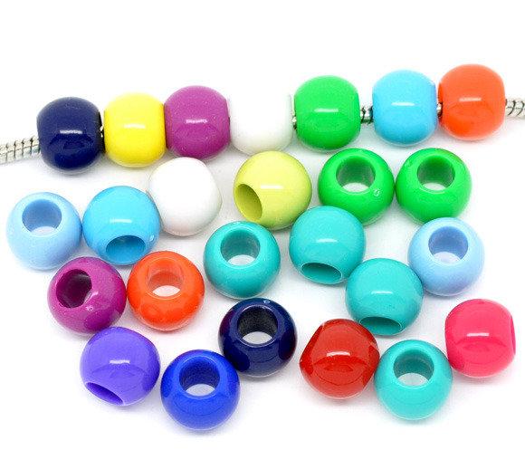 14  Perle in Acrilico a Foro Largo adatto Bracciale Europeo 11×9mm colori mix scontato