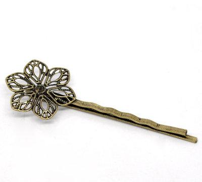 basi forcina a clip per capelli tono Bronzo modello fiore 6.1×2.3cm