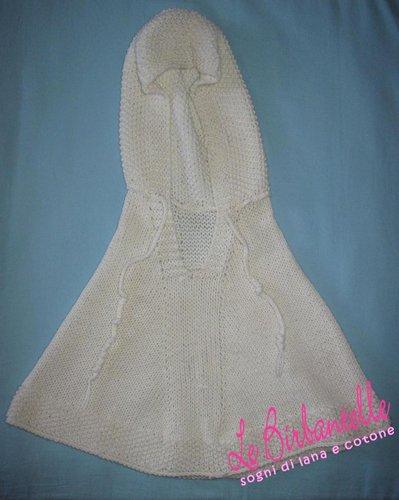 Poncho di lana panna lavorato a mano per bambine (taglia 2 anni)