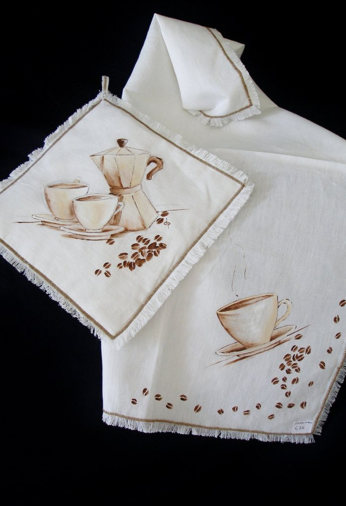 Presina e Strofinaccio dipinti - Caffè