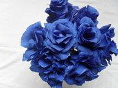 rose blu in carta crespa